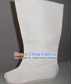 Traditional Chinese Peking Opera Shoes, China Ancient Boots, Chinese Kung fu White Cloth Boots for Men