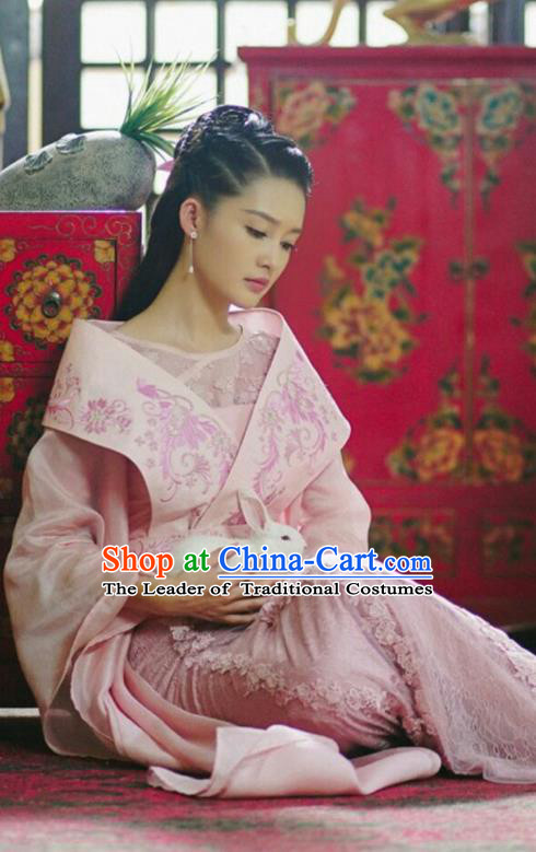 Traditional Ancient Chinese Northern and Southern Dynasties Princess Costume, Princess Agents Northern Wei Dynasty Infanta Clothing and Headpiece Complete Set