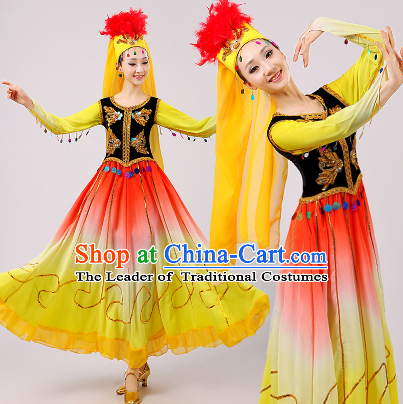 Traditional Xinjiang Dance Costumes for Adults Chinese Minority Ethnic Dance Outfits