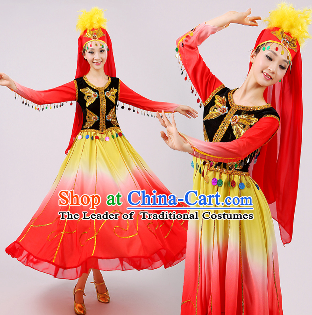 Traditional China Xinjiang Dance Costumes for Adults Chinese Minority Ethnic Dance Outfits