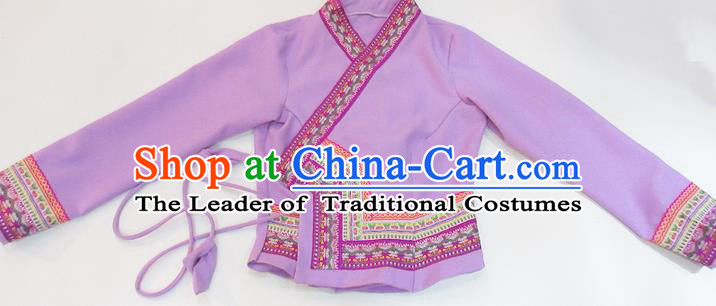 Traditional Thailand Ancient Handmade Female Costumes, Traditional Thai China Dai Nationality Pink Blouse Clothing for Women