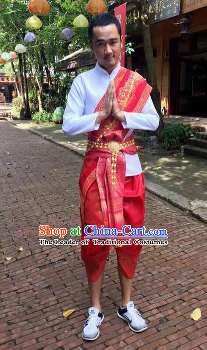 Traditional Thailand Ancient Handmade Male Costumes, Traditional Thai Uniform China Dai Nationality Red Clothing for Men