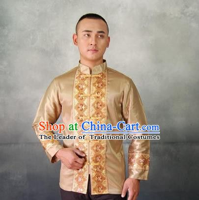 Traditional Traditional Thailand Male Clothing, Southeast Asia Thai Ancient Costumes Dai Nationality Golden Shirt for Men