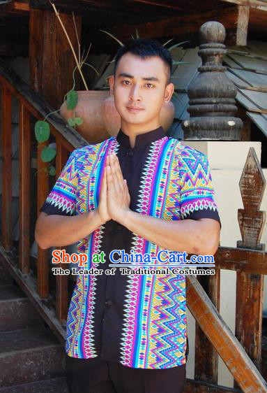 Traditional Traditional Thailand Male Clothing, Southeast Asia Thai Ancient Costumes Dai Nationality Blue Shirt for Men