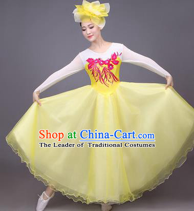 Traditional Chinese Modern Dance Compere Performance Costume, China Opening Dance Chorus Big Swing Full Dress, Classical Dance Yellow Bubble Dress for Women