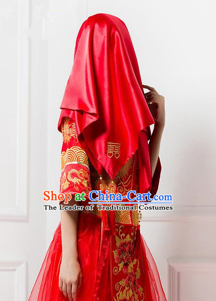 Traditional Chinese Wedding Costume Xiuhe Red Veil Ancient Chinese Bride Embroidered Red Head Cover For Women,50 Year Old Wedding Dress