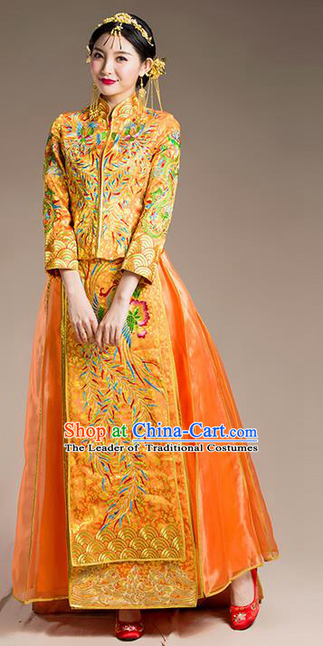 Traditional Chinese Wedding Costume Xiuhe Suit Golden Clothing