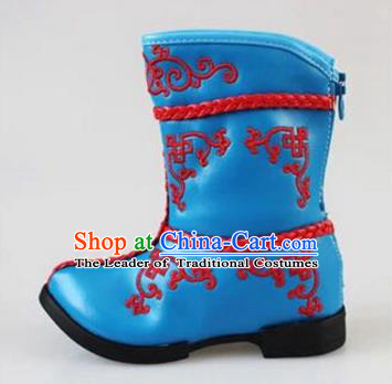 Traditional Chinese Minority Mongol Nationality Dance Shoes, Ethnic Minorities Mongolian Boots Blue Embroidery Boots for Kids