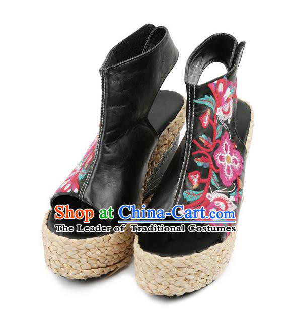 Traditional Chinese Shoes Wedding Shoes Embroidered Shoes Black Slipsole Shoes Hanfu Sheepskin Shoes for Women
