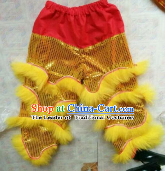 World Lion Dance Competition Fur Hoksan Costume Lion Dance Pants Adult Size Costumes Yellow Trousers