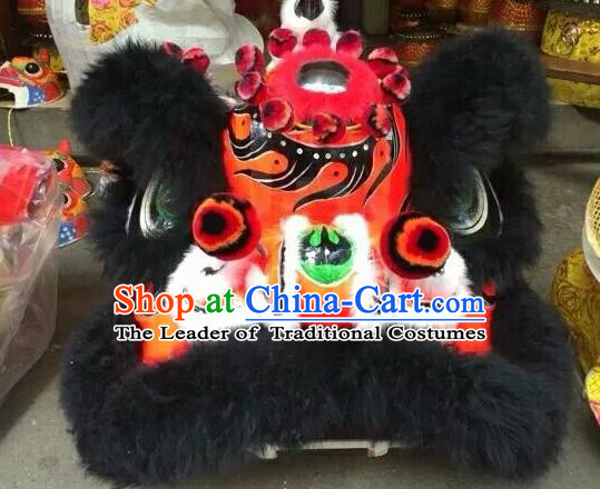 World Lion Dance Competition Black Fur Lion Head Lion Dance Costumes for Adult