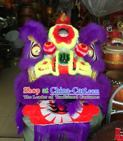 World Lion Dance Competition Purple Fur Lion Head Lion Dance Double Person Costumes for Adult