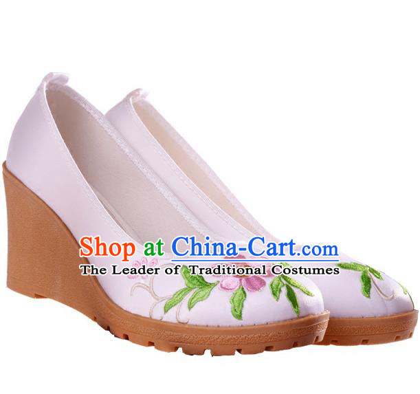 Traditional Chinese Ancient Wedding Cloth Shoes, China Princess Pink Shoes Hanfu Handmade Embroidery Shoe for Women