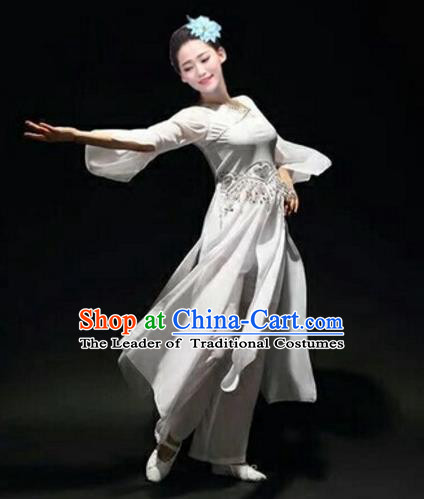 Traditional Chinese Classical Dance Fan Dance Costume, Folk Dance Umbrella Dance White Uniform Clothing for Women