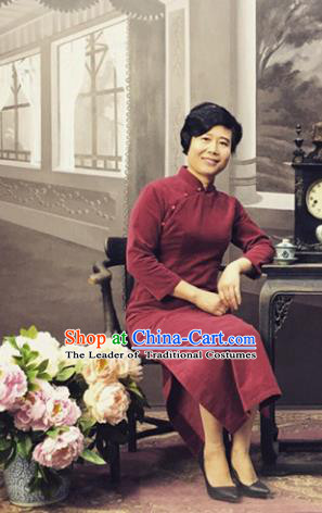 Traditional Ancient Chinese Costume Red Qipao, China Republic of China Nobility Cheongsam Clothing