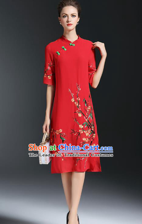 0f77c1565 Top Grade Asian Chinese Costumes Classical Embroidery Plum Blossom Slant  Opening Cheongsam, Traditional China National Red Chiffon Chirpaur Dress  Plated ...