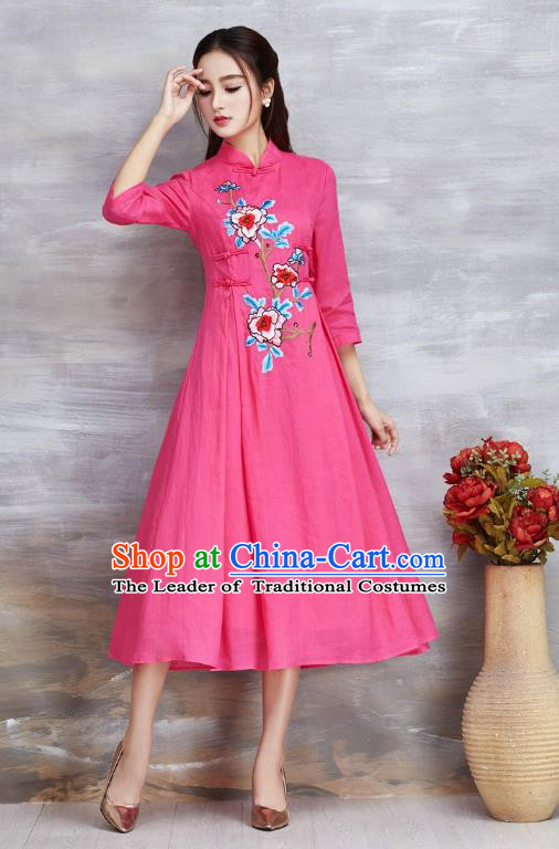 e743a5057 Top Grade Asian Chinese Costumes Classical Embroidery Peony Slant Opening  Pink Cheongsam, Traditional China National Plated Buttons Chirpaur Dress  Qipao for ...