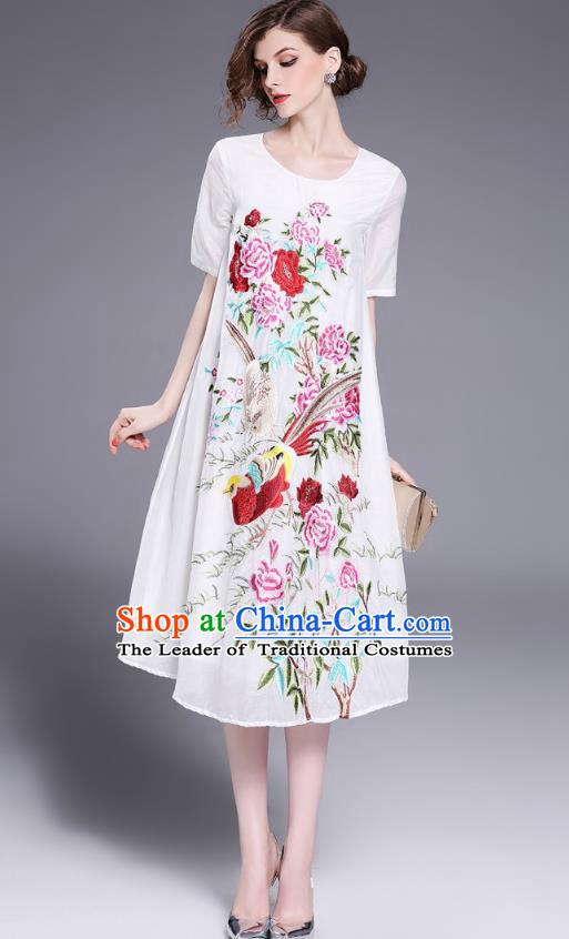 8171e03e0057 Asian Chinese Oriental Costumes Classical Slant Opening Embroidery Phoenix  Linen Cheongsam, Traditional China National Chirpaur