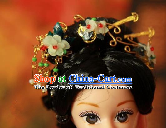 Traditional Handmade Chinese Tang Dynasty Hair Accessories Complete Set, Ancient China Imperial Concubine Hairpins Headpiece