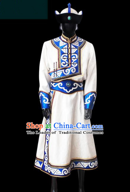 Traditional Chinese Mongol Nationality Costume Male White Mongolian Robe, Chinese Mongolian Minority Nationality Clothing for Men