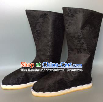 Asian Chinese Traditional Shoes Embroidered Black Shoes, China Ancient Hanfu Shoes Embroidered Satin Shoes