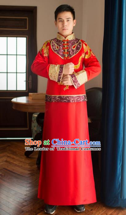 Ancient Chinese Wedding Costume China Traditional Bridegroom Embroidered Toast Clothing for Men