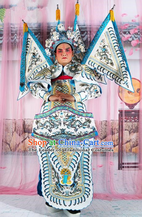 Chinese Beijing Opera General Costume White Embroidered Armour, China Peking Opera Military Officer Embroidery Gwanbok Clothing
