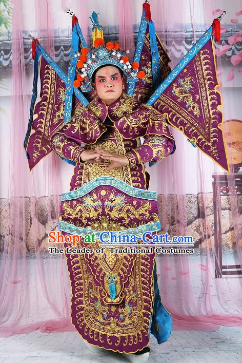 Chinese Beijing Opera General Costume Purple Embroidered Armour, China Peking Opera Military Officer Embroidery Gwanbok Clothing
