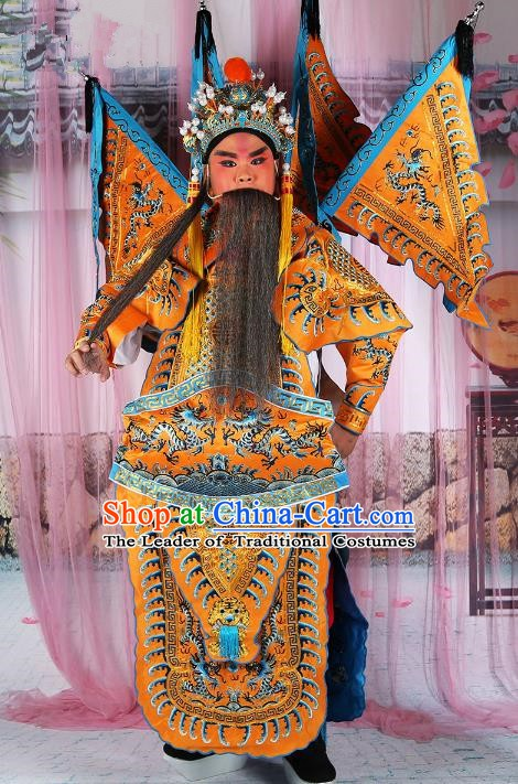 Chinese Beijing Opera General Costume Yellow Embroidered Armour, China Peking Opera Military Officer Embroidery Gwanbok Clothing