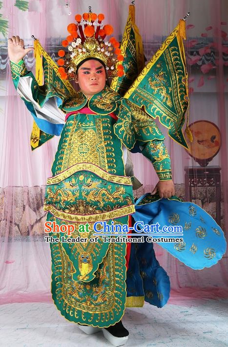 Chinese Beijing Opera General Costume Green Embroidered Armour, China Peking Opera Military Officer Embroidery Gwanbok Clothing