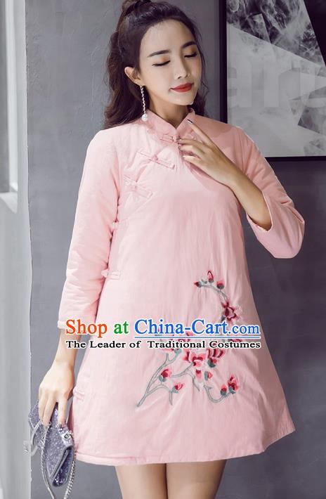 517f2c7b61c Traditional Chinese National Costume Hanfu Embroidered Magnolia Qipao Dress