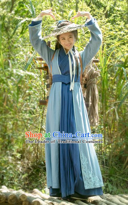 Traditional Chinese Zhou Dynasty Swordswoman Costume Ancient Nirvana in Fire Young Lady Embroidered Clothing