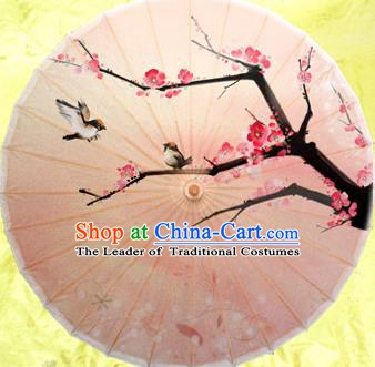 China Traditional Dance Handmade Umbrella Painting Wintersweet Oil-paper Umbrella Stage Performance Props Umbrellas