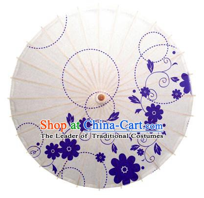 China Traditional Dance Handmade Umbrella Printing Blue Flowers Oil-paper Umbrella Stage Performance Props Umbrellas