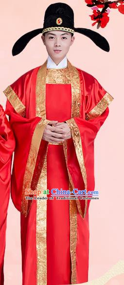 Traditional Chinese Ancient Bridegroom Wedding Costume, China Tang Dynasty Prince Hanfu Clothing for Men