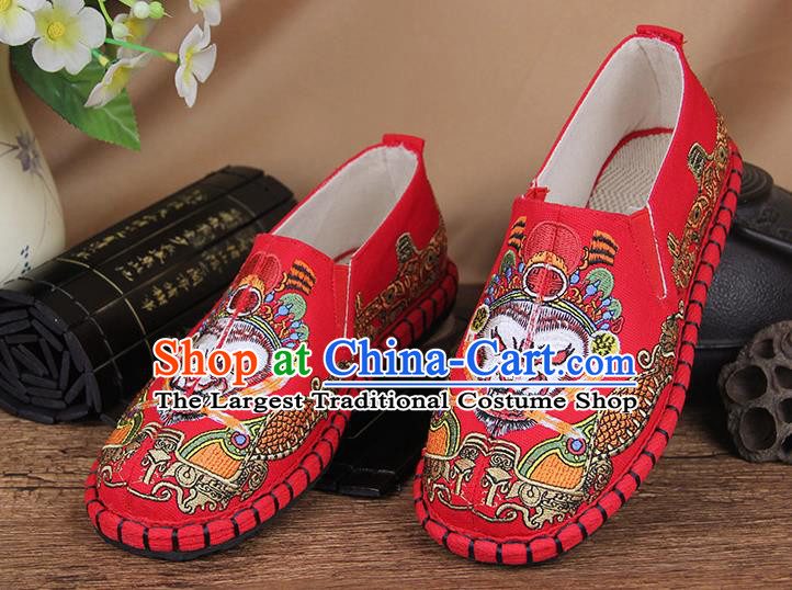 Chinese National Handmade Shoes Traditional Cloth Shoes Embroidery Monkey King Red Shoes for Women