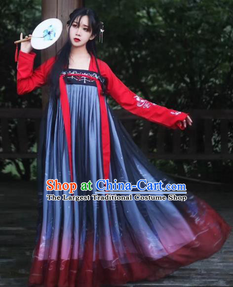 Traditional Chinese Ancient Peri Goddess Hanfu Dress Tang Dynasty Princess Embroidered Costumes for Women