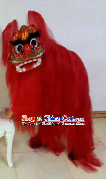 Chinese Traditional Lion Dance Red Fur Costumes Spring Festival Lion Dance Props for Kids