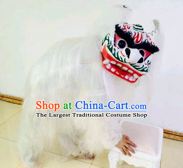 Chinese Traditional Lion Dance White Fur Costumes Spring Festival Lion Dance Props for Kids