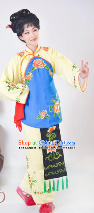 Chinese Traditional Peking Opera Mui Tsai Yellow Costumes Ancient Young Lady Dress for Adults