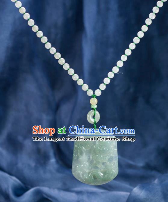 Chinese Traditional Jewelry Accessories Ancient Jade Carving Dragon Necklace Jadeite Pendant