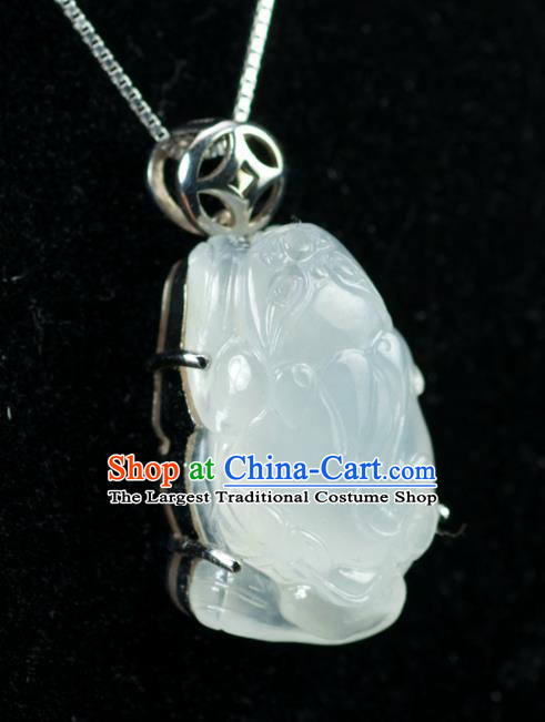 Chinese Traditional Jewelry Accessories Jade Toad Necklace Handmade Jadeite Pendant