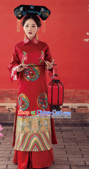 Chinese Traditional Qing Dynasty Historical Dress Ancient Empress Embroidered Costumes and Headpiece Complete Set
