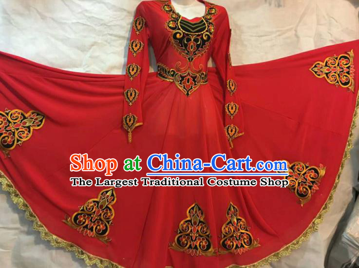 Chinese Traditional Uigurian Nationality Ethnic Costumes Xinjiang Uyghur Minority Folk Dance Red Dress for Women