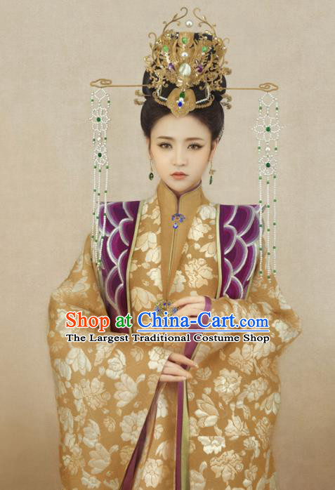 Chinese Ancient Ming Dynasty Palace Hanfu Dress Traditional Drama Empress Embroidered Costumes and Headpiece Complete Set