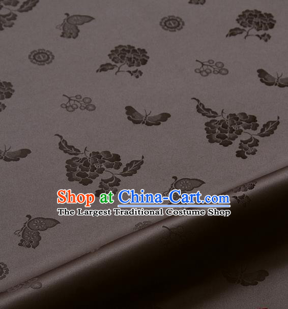 Asian Korean Traditional Brown Brocade Fabric Classical Butterfly Peony Pattern Silk Fabric Hanbok Silk Material