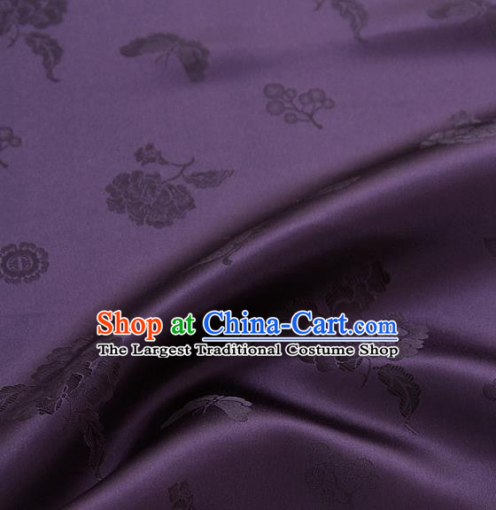 Asian Korean Traditional Purple Brocade Fabric Classical Butterfly Peony Pattern Silk Fabric Hanbok Silk Material