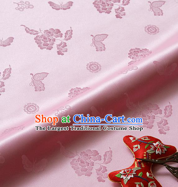 Asian Korean Traditional Pink Brocade Fabric Classical Butterfly Peony Pattern Silk Fabric Hanbok Silk Material