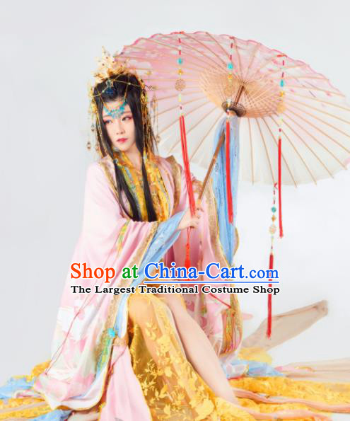 Asian Chinese Cosplay Peri Hanfu Dress Ancient Imperial Empress Embroidered Costumes and Headpiece Complete Set