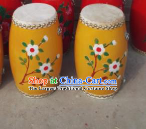 Chinese Traditional Handmade Drums Folk Dance Yellow Waist Drum Printing Flowers Cowhide Drums